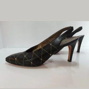 Vintage YVES SAINT LAURENT Quilted Slingback Heels